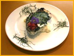 Sam's Baked Luau Oyster with a Tomato Ogo Salsa